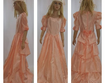 Girls Victorian gown/size 8 to 10/Peach pink Flower girl dress/Bridesmaid/Cosplay/Southern Belle costume/Ste&unk/special occasion/ princess  sc 1 st  Etsy & Princess peach costume   Etsy