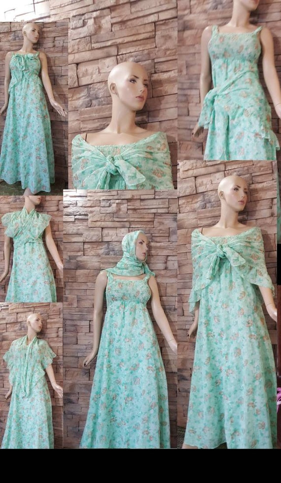 Mint green 70s maxi dress with scarf