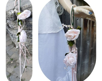Mid century Foral Decorated Pink Wedding Umbrella Stick