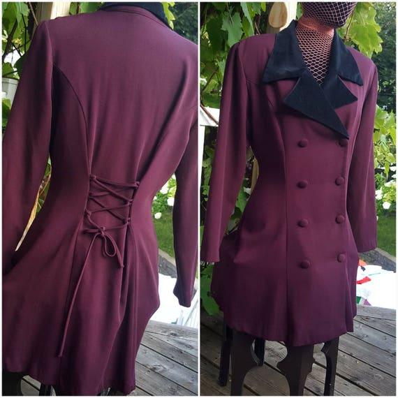 Burgundy Victorian riding jacket /Ouji /steampunk/