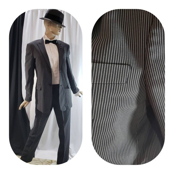 Black Pinstripe Gangster Suit