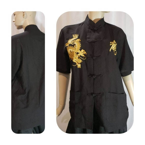 Gold Dragon Embroidered Black Ship