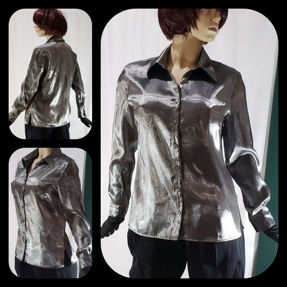 Liquid silver long sleeve disco blouse