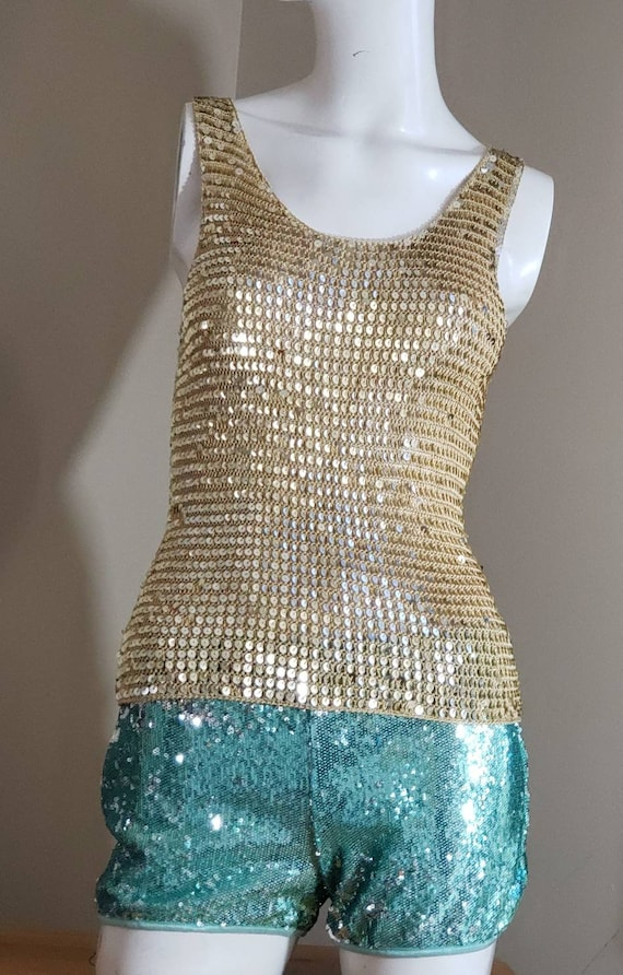 Gold Sequin stretch crop Top - image 7