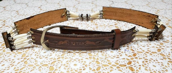 Tooled &beaded western leather belt