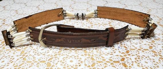 Tooled Western Leather Belt - image 2
