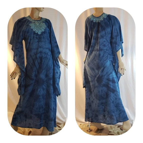 Maxi Blue Tie Dye Poet Sleeves Tunic Dress
