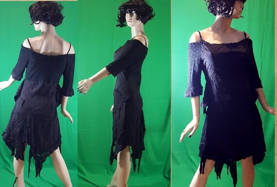 Black Pagan Witch dress/Halloween Costume/off shou