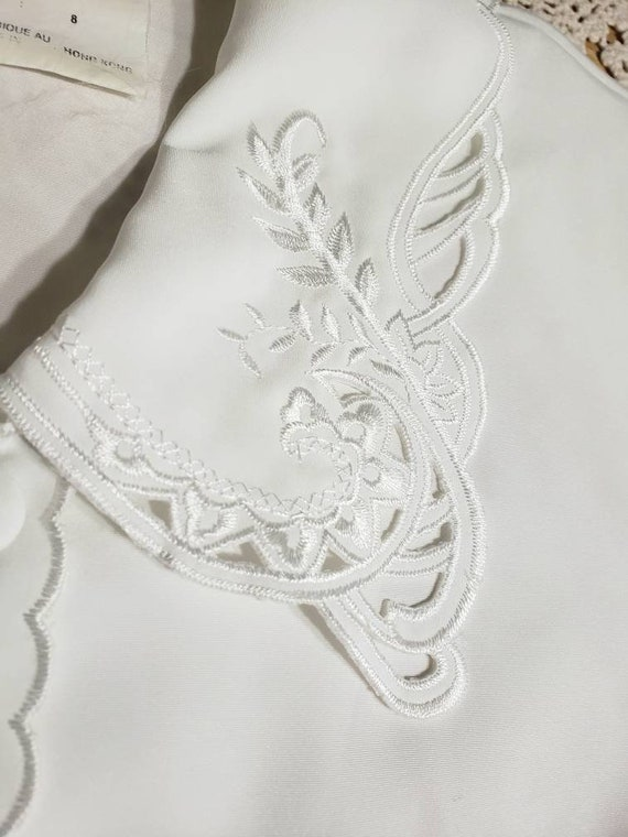 White Eyelet Lace Embroidered 70s Blouse - image 10