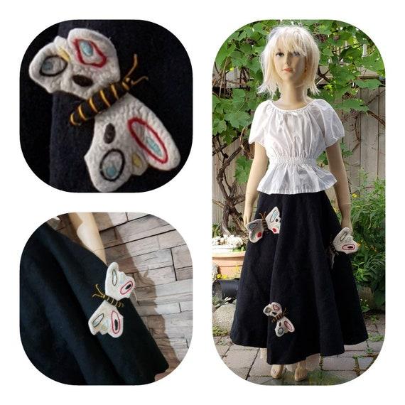 Girls Long Wool Felt Butterfly Woodland Skirt
