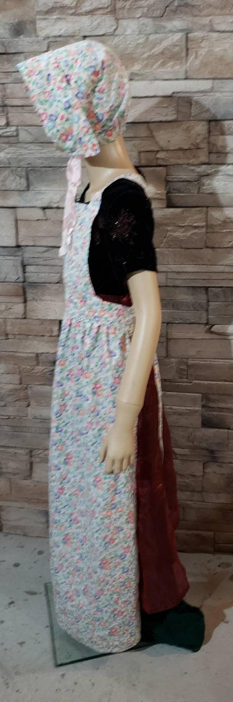 Pilgrim Apron Bonnet Set Pioneer Girl Cosplay
