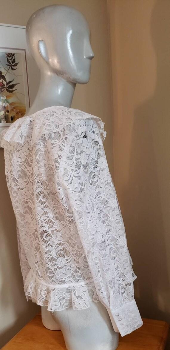 Victorian lace ruffle blouse - image 4