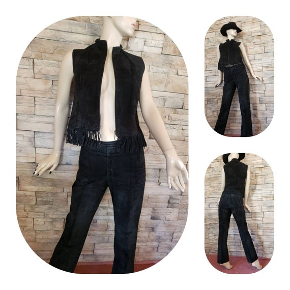 Suede Leather Pants Vest Set Western Style