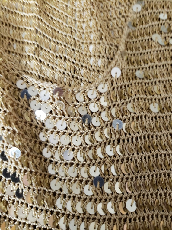 Gold Sequin stretch crop Top - image 10
