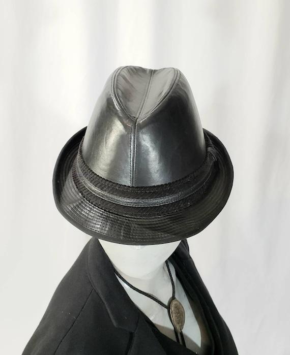 Vintage Faux Leather Fedora Hat