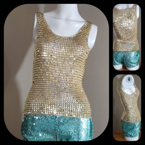 Gold Sequin stretch crop Top - image 2