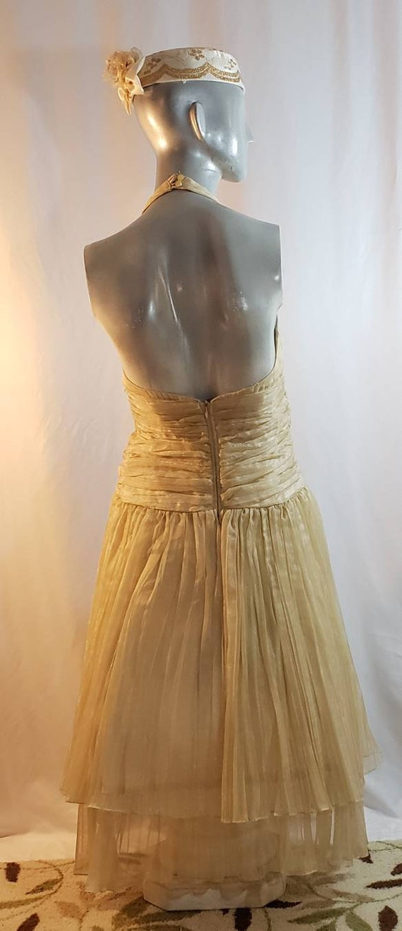 Gold halter top dress/Marilyn Monroe style/1950's… - image 3