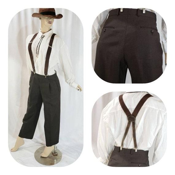 Brown Tweed Western Cosplay Pants With Suspenders