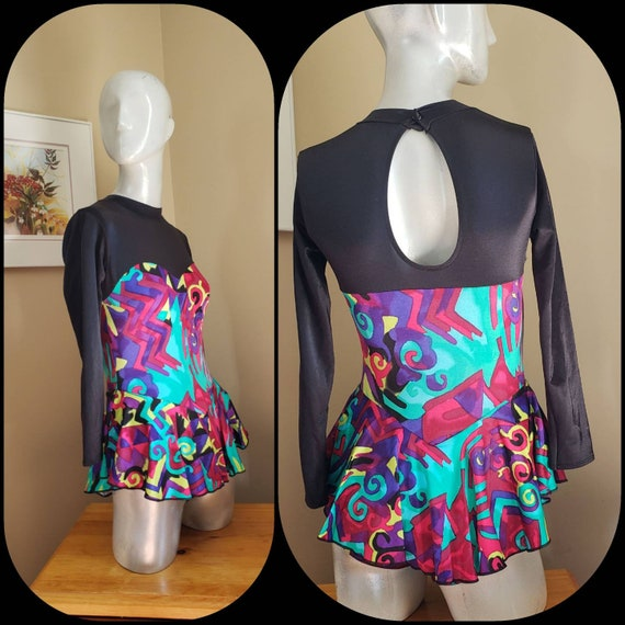 Open Back Long Sleeve Leotards Skating Outfit