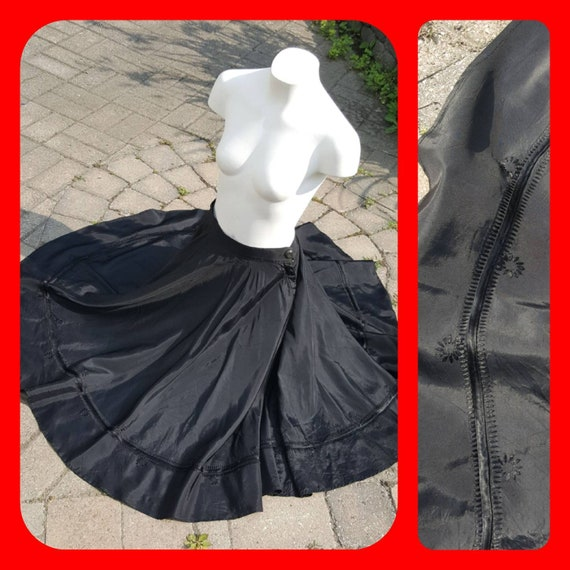 Antique Black Satin Folkloric Dance Skirt