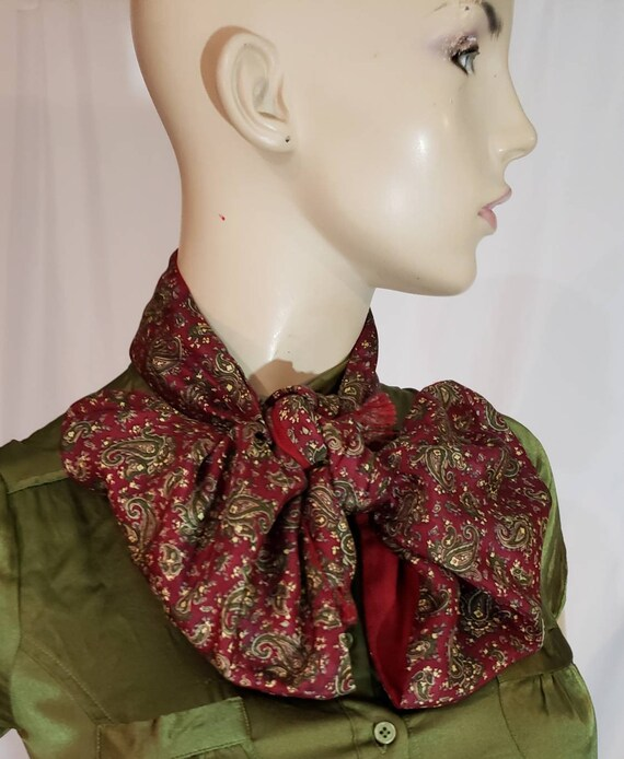 60s burgundy paisley print gentlemen scarf - image 5