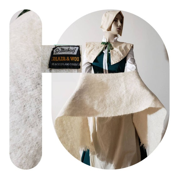 Beige Mohair Wrap Scarf/historical outerwear