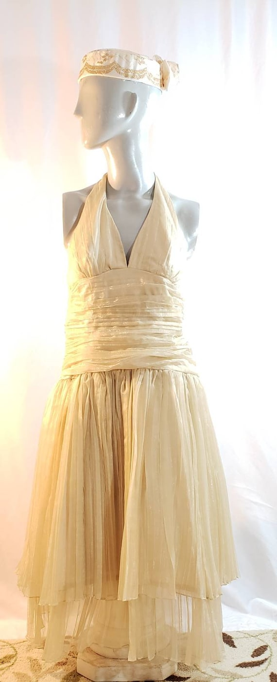 Gold halter top dress/Marilyn Monroe style/1950's… - image 2
