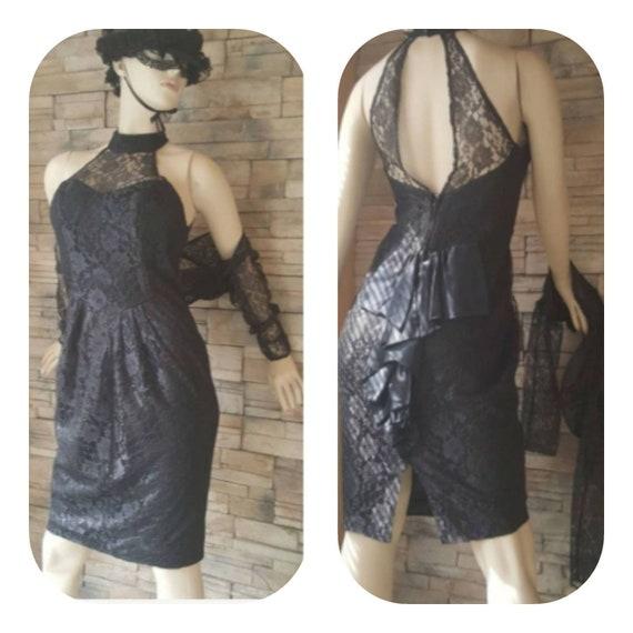 Sexy Black Lace Bustle  Dress