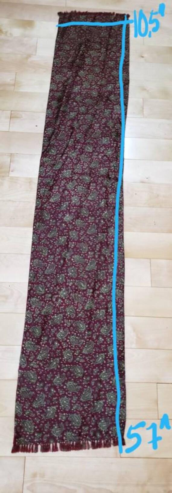 60s burgundy paisley print gentlemen scarf - image 7