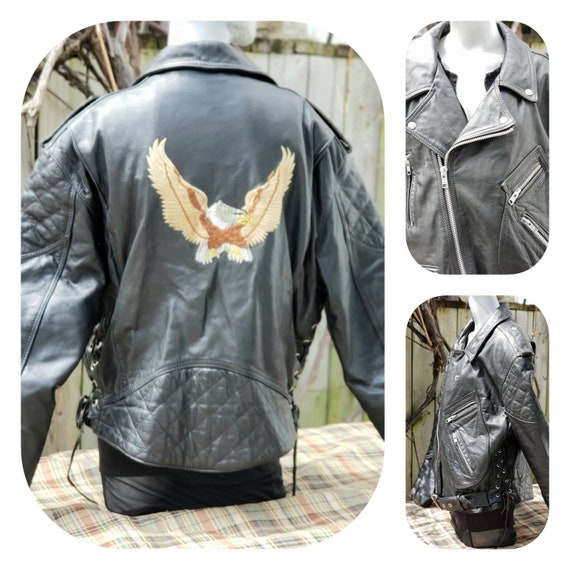 Eagle Patch Leather Motorcycle Bomber Jacket