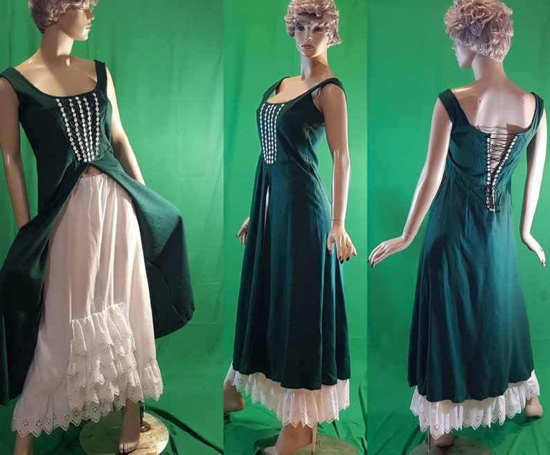 Green linen Renaissance dress with under skirt / Irish costume