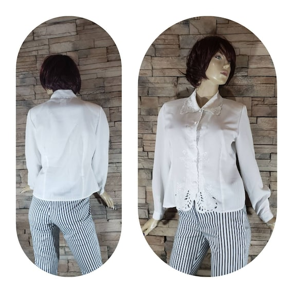 White Eyelet Lace Embroidered 70s Blouse - image 2