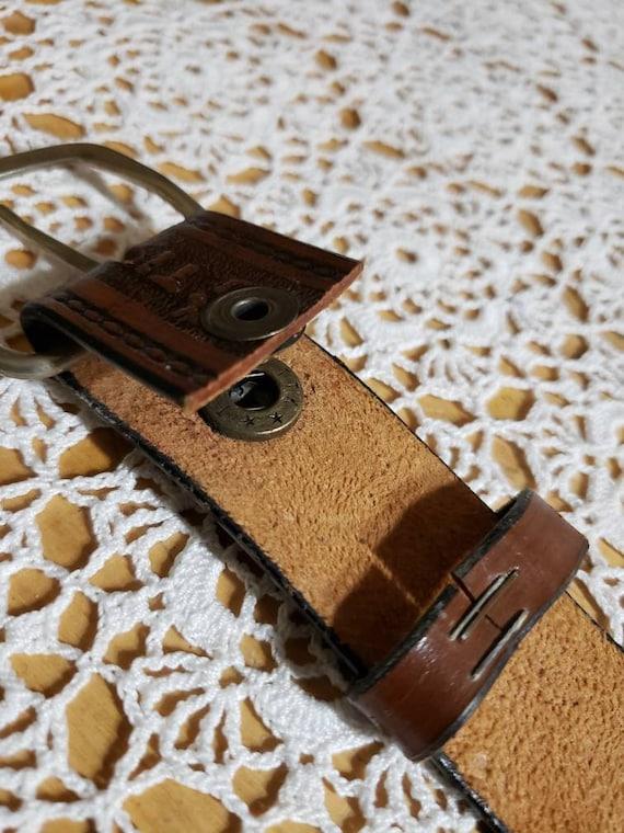 Tooled Western Leather Belt - image 10