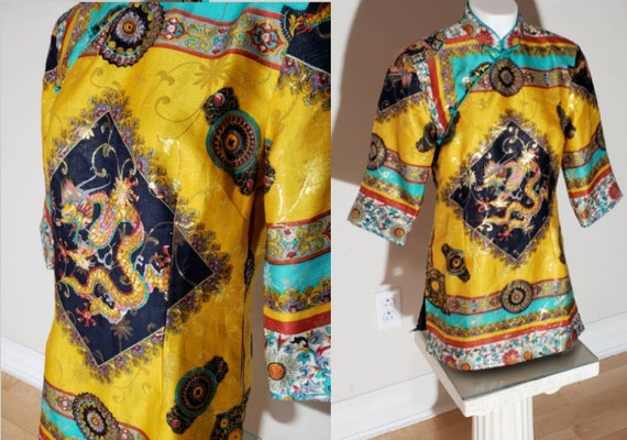 Chinese silk Tunic-Dress/dragon print