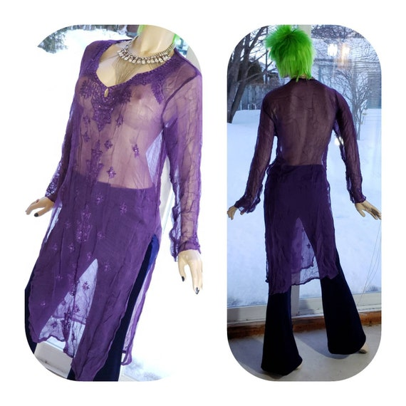 Purple Transparent Embroidered Tunic Dress