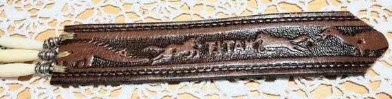 Tooled Western Leather Belt - image 6