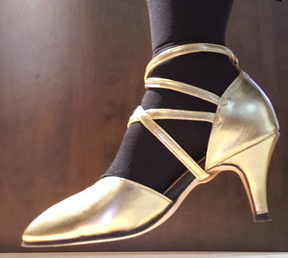 Gold strappy retro dance shoes