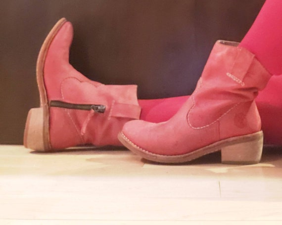 Women's Pink Leather Ankle Boots Western Booties