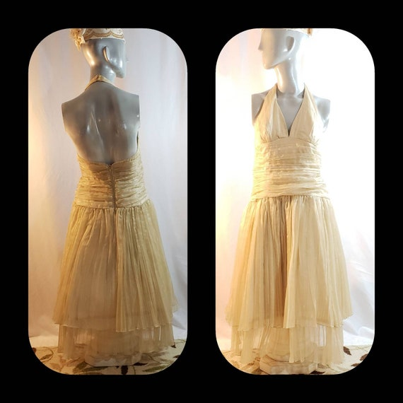 Gold halter top dress/Marilyn Monroe style/1950's… - image 1