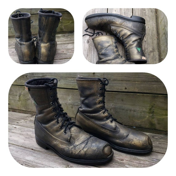 Distressed military steel toe combat boots