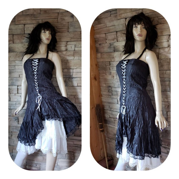 Gothic Lace Up Corset Wrinkle Dress