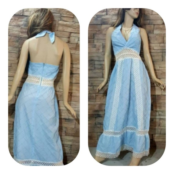 Blue Maxi halter dress