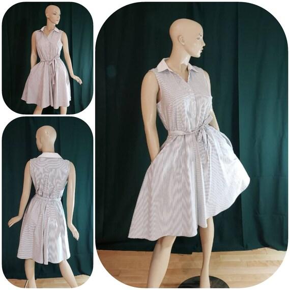 Striped Cotton Rockabilly Circle Dress