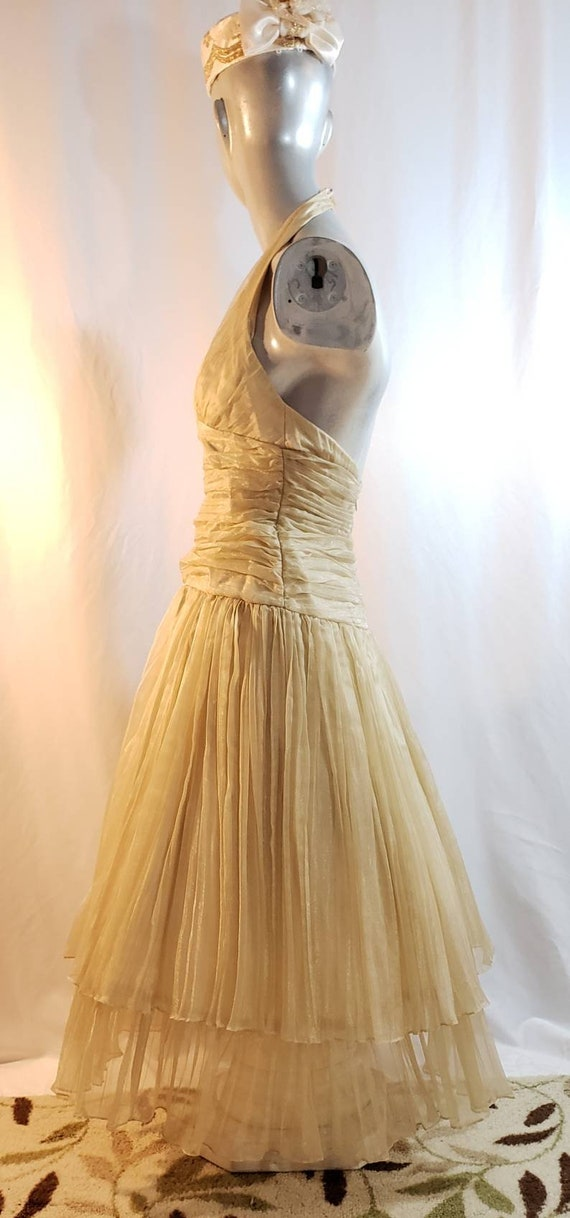 Gold halter top dress/Marilyn Monroe style/1950's… - image 4