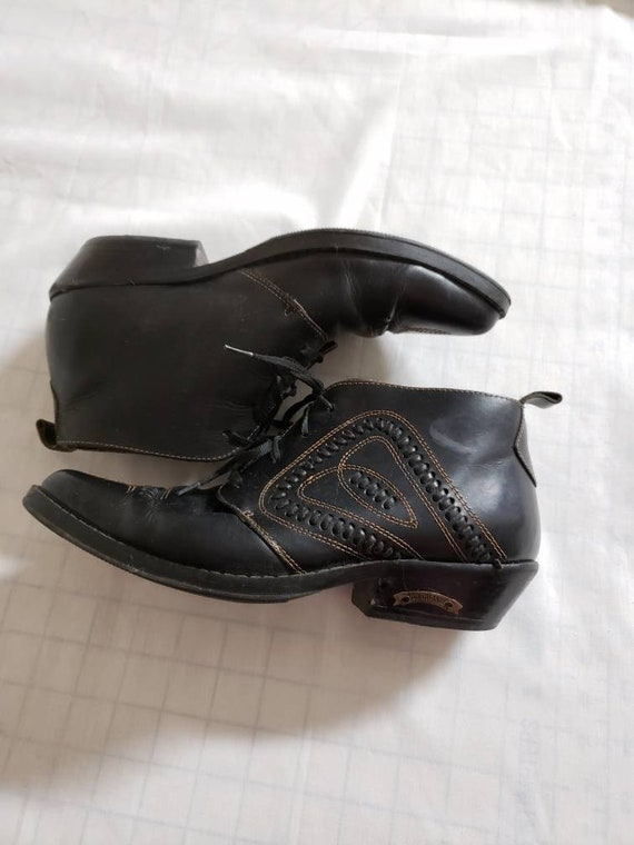 Black leather western ankle boots