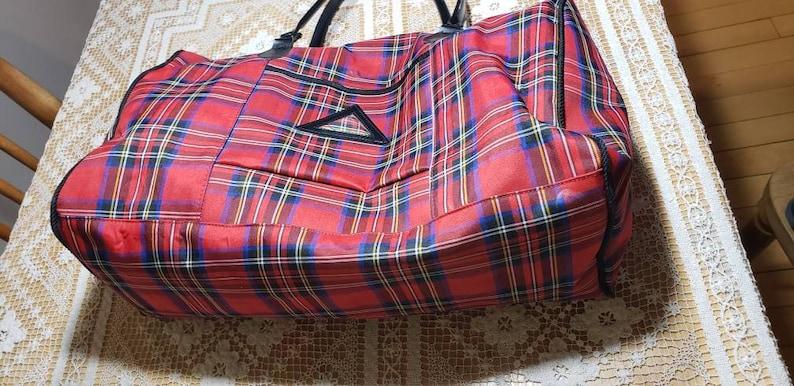 Red Tartan Overnight Bag