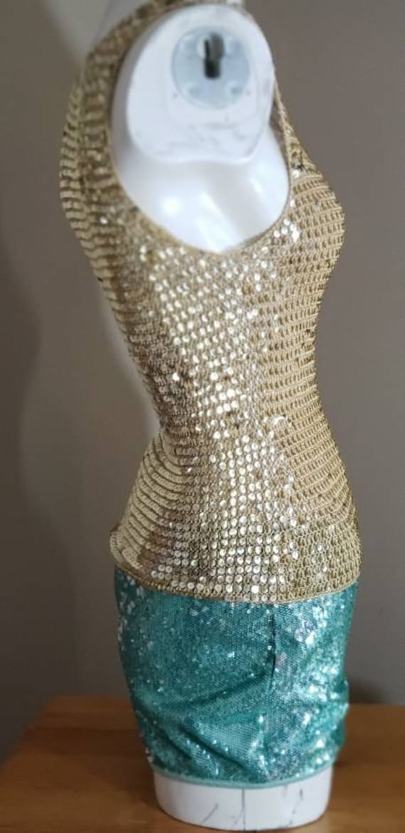 Gold Sequin stretch crop Top - image 6