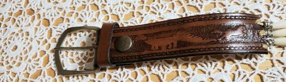 Tooled Western Leather Belt - image 8
