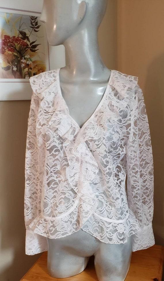 Victorian lace ruffle blouse - image 7