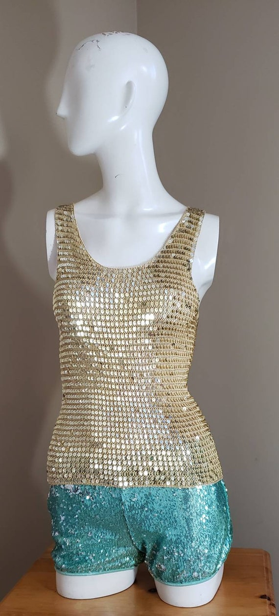 Gold Sequin stretch crop Top - image 3